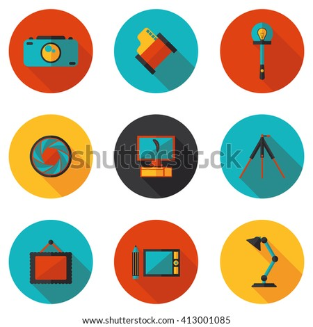 flat icons photo in vector format eps10 - stock vector
