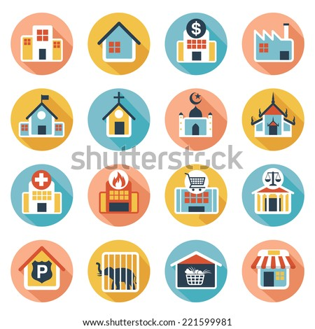 Flat icons set : Building, Destination, Place for Map - stock vector