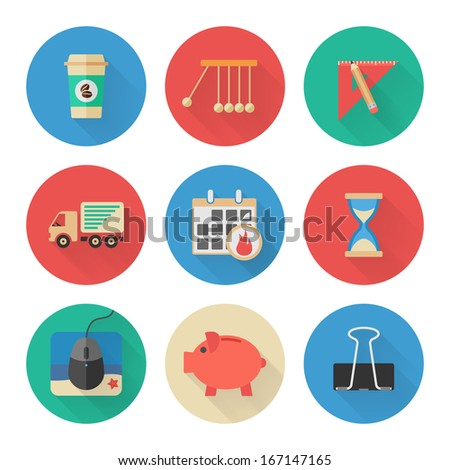 Flat Icons Set. Business Office. Vector - stock vector
