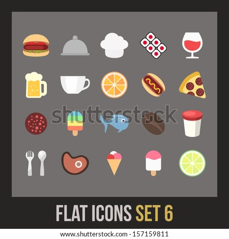 Flat icons set 6 - food and drink collection - stock vector