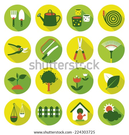 Flat icons set : Garden Object - stock vector