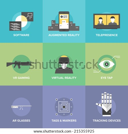 Flat icons set of augmented reality technology, AR glasses and head-mounted display, virtual reality gaming, innovations and futuristic technologies. Modern design style vector illustration concept. - stock vector