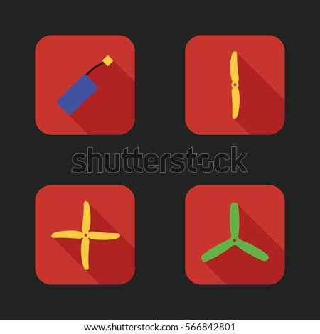 Flat icons set of drones parts