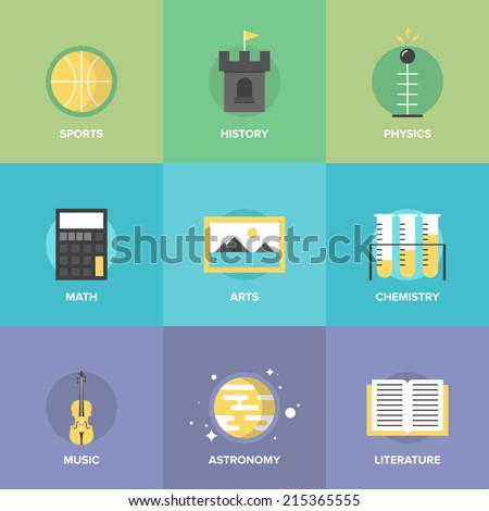 Flat icons set of education main subjects, schooling symbol and learning elements, studying and educational objects. Flat design style modern vector illustration concept. - stock vector