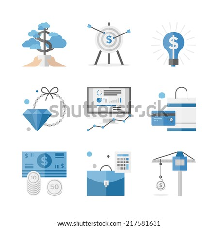 Flat icons set of financial investment for development business project, economic analysis of finance growth. Flat design style modern vector illustration concept. Isolated on white background. - stock vector