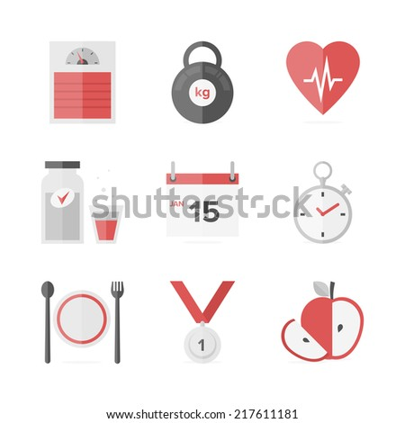 Flat icons set of fitness dieting, weight loss activity, wellness and healthcare, healthy food eating. Flat design style modern vector illustration concept. Isolated on white background. - stock vector