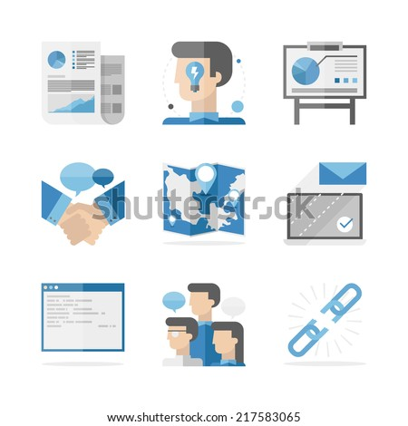 Flat icons set of global business people communication, success ideas presentation and partnership agreement. Flat design style modern vector illustration concept. Isolated on white background. - stock vector