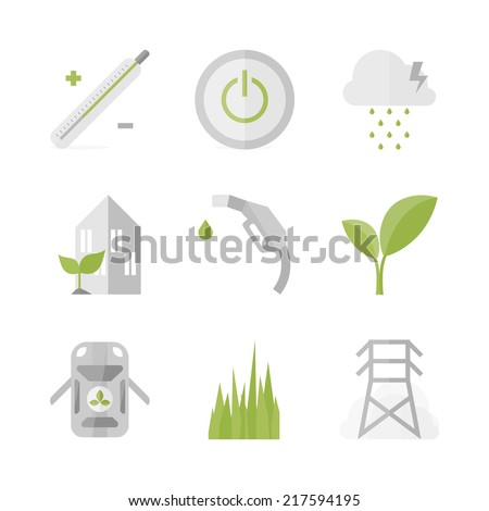 Flat icons set of green power and clean energy, bio fuel and green house, nature symbol and environmental protection. Flat design style modern vector illustration concept. Isolated on white background - stock vector