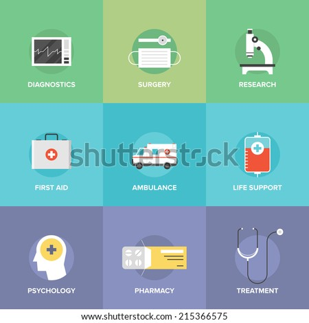 Flat icons set of healthcare technology, diagnostic equipment, surgery tools, psychology and pharmacology, ambulance emergency, medicine treatment. Modern design style vector symbol collection. - stock vector