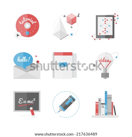 Flat icons set of high school and college education, online learning and distance study, new ideas and research innovations. Flat design style modern vector illustration concept.  - stock vector