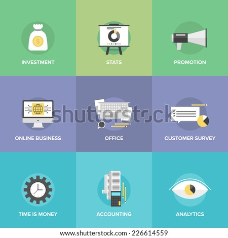 Flat icons set of investing money, corporate accounting, financial statistics, customer survey service, online business, office workplace. Flat design style modern vector illustration concept. - stock vector