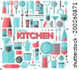 Flat icons set of kitchen utensil and collection of cookware, cooking tools and kitchenware equipment, serve meals and food preparation elements. Modern design style vector illustration poster concept - stock vector