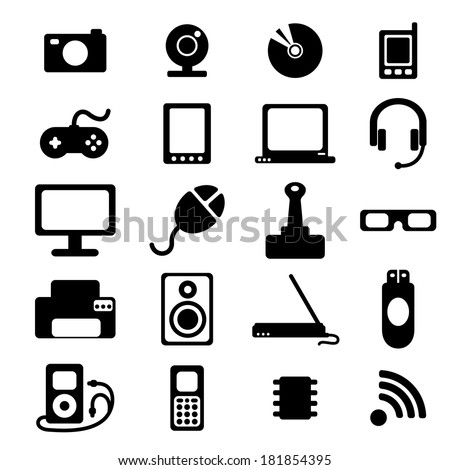 flat icons set of media, computers, electronics, musical equipment, cinema equipment