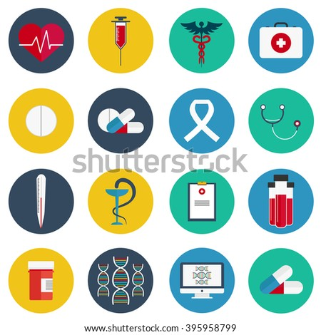Flat icons set of medical tools and health care equipment - stock vector