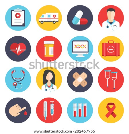 Flat icons set of medical tools and health care equipment, science research and health treatment service. Modern design style collection. Pharmacy symbol sign vector illustration on white background - stock vector