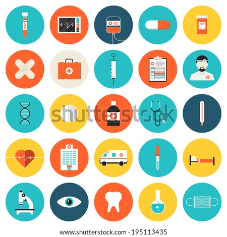 Flat icons set of medical tools and healthcare equipment, science research and health treatment service. Modern design style symbol collection. Isolated on white background. - stock vector