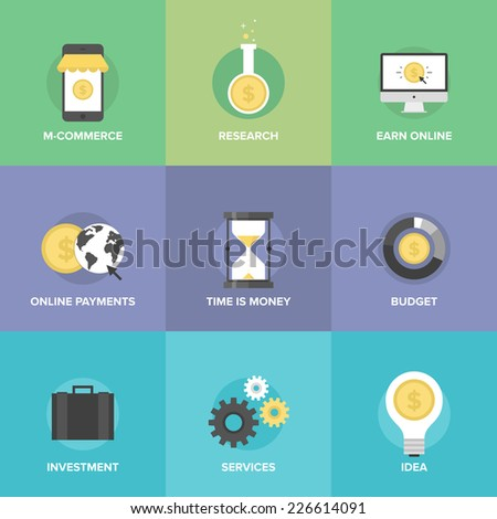 Flat icons set of  mobile commerce, online payments, internet earnings, budget planning, time is money, market research, funds investing service. Flat design style modern vector illustration concept. - stock vector