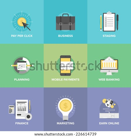 Flat icons set of mobile payments services, business planning organization, financial analytics process, marketing profit ideas, online money earnings. Flat design modern vector illustration concept. - stock vector