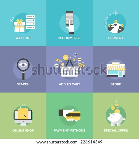 Flat icons set of online shopping services, e-commerce checkout payments, add to cart elements, worldwide delivery, web commerce search optimization. Flat design modern vector illustration concept. - stock vector
