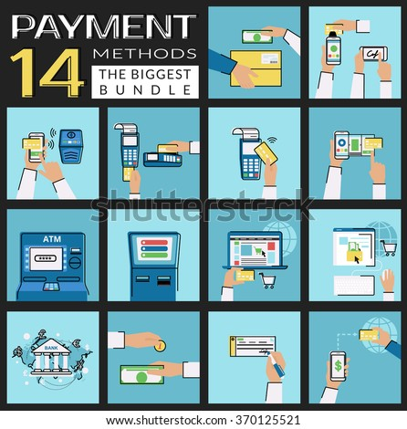 Flat icons set of payment methods such as credit card, nfc, mobile app, atm and terminal, wireless payment, website and electronic money, bank transfer, cash and invoice, delivery and mobile acquiring - stock vector