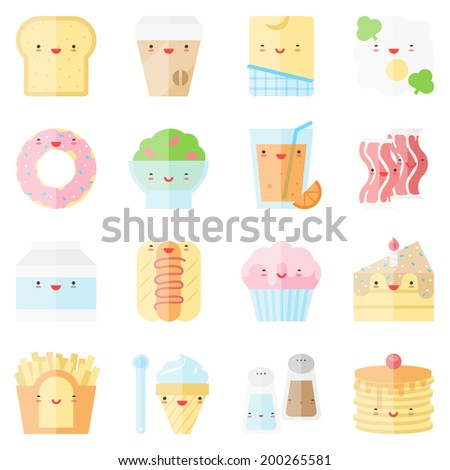 Flat icons set of popular food in cute modern kawaii style. Flat design stylish vector illustration symbol collection. Isolated on white background.   - stock vector