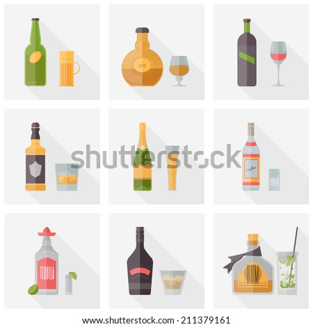 Flat icons set of popular various alcoholic beverages with glasses. Flat design style vector illustration symbol collection. Isolated on white background.