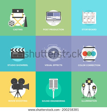 Flat icons set of professional film production, movie shooting, studio showreel, actor casting, storyboard writing, visual effects, post production. Flat design modern vector illustration concept. - stock vector