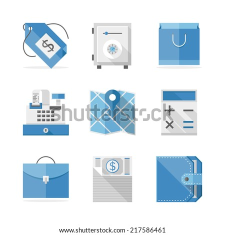 Flat icons set of retail and commerce objects, financial service items, shopping and money economy sign and symbol. Flat design style modern vector illustration concept. Isolated on white background. - stock vector