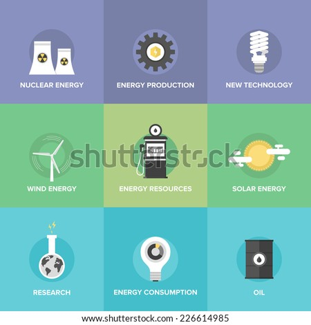 Flat icons set of world energy resources, clean energy, advanced technologies, sustainable development of natural resource, bio fuel, wind energy. Flat design style modern vector illustration concept. - stock vector
