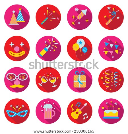 Flat Icons Set : Party Objects - stock vector