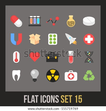 Flat icons set 15 - science and medicine collection - stock vector