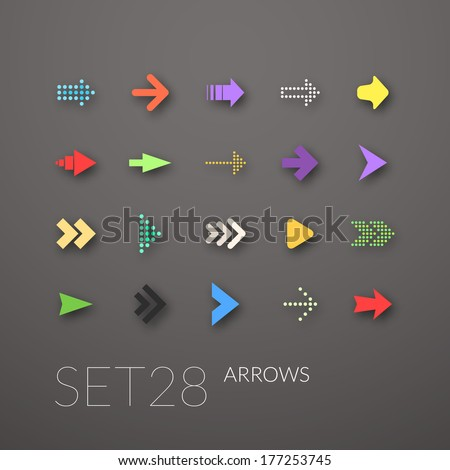 Flat icons set 28 - signs arrows - stock vector