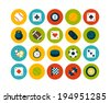 Flat icons set 12 - sport and game collection - stock photo