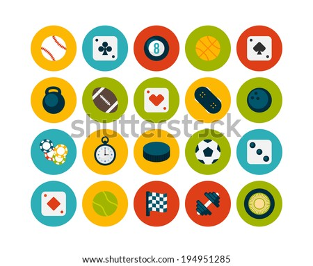 Flat icons set 12 - sport and game collection - stock vector
