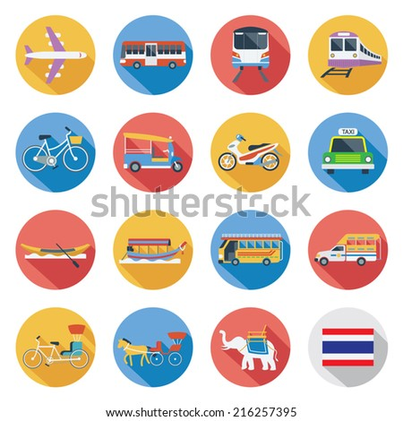 Flat icons set : Thailand Transportation, Trips & Travel - stock vector