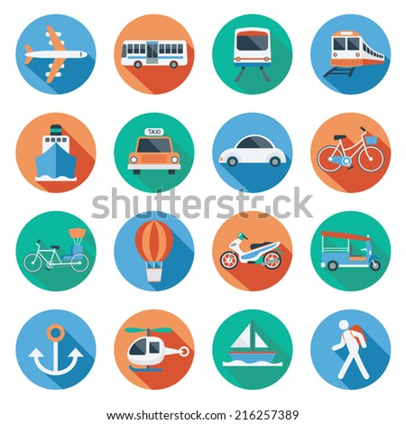 Flat icons set : Transportation, Trips & Travel - stock vector