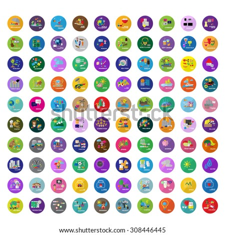 Flat Icons Set: Vector Illustration, Graphic Design. Collection Of Colorful Icons. For Web, Websites, Print, Presentation Templates, Promotional, Mobile Applications And Promotional Materials - stock vector