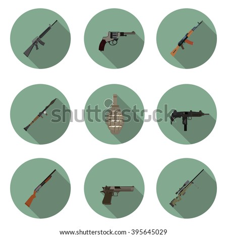 flat icons set weapons in vector format eps10 - stock vector