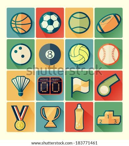 Flat icons sport set - stock vector