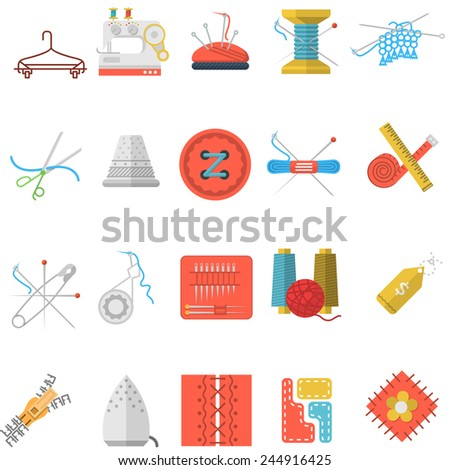 Flat icons vector collection of sewing items. Set of colorful flat vector icons for sewing or handmade items and tools on white background. - stock vector