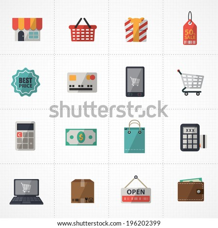 flat icons vector collection with colors of supermarket services, Shopping online Icons set.