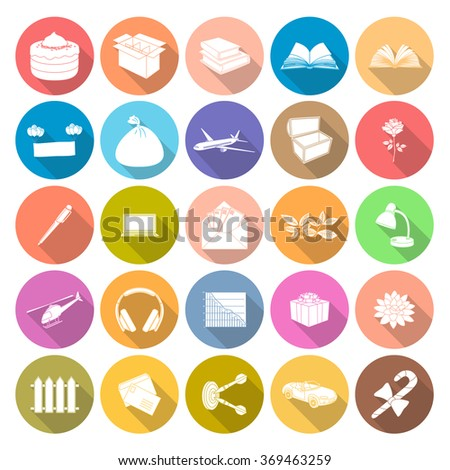 Flat icons vector collection with long shadow, Isolated on white background. - stock vector