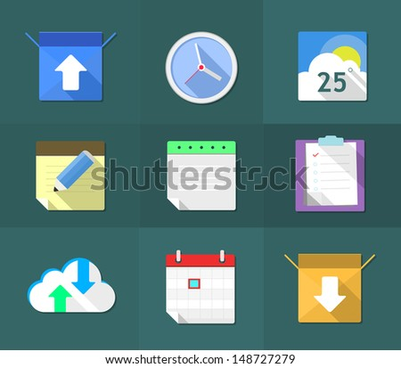 Flat icons, vector illustration