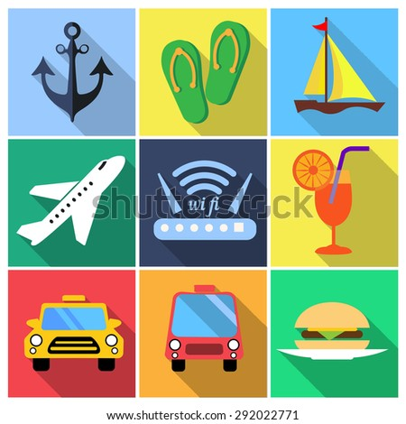 Flat icons vector set with long shadow: tourism, traveling, vacation and transfer, wi-fi, dinner and other like that - stock vector