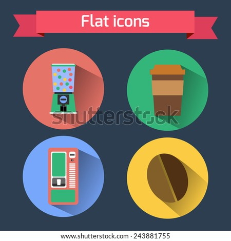 Flat icons vending machines and coffee bean - stock vector