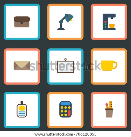 Flat Icons Whiteboard, Desk Light, Letter And Other Vector Elements. Set Of Office Flat Icons Symbols Also Includes Ruler, Mail, Lamp Objects.