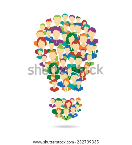 Flat Idea lamp symbolize crowdsourcing process isolated on white background - stock vector