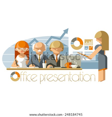Flat illustration business presentation in an office - stock vector