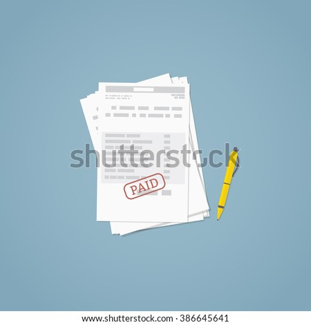 Flat illustration. Documents, business papers. Stamped bill. - stock vector