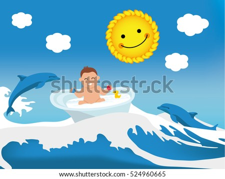 Flat illustration. Happy toddler playing in bath, wave bath lift, dolphins and the sun gently smile at him. Baby illustration. Kid banner.